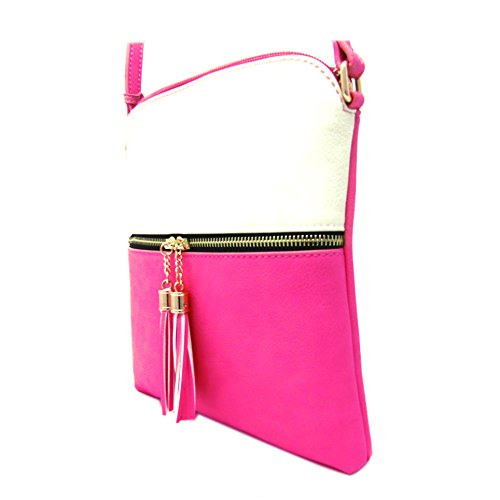 Weight Crossbody Leather Organize Adjustable Light Faux Rich White Capacity Medium Strap with Purse Fuchsia Women's Bag Shoulder and Large Bxq4IYw4E