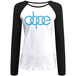 Women's Dope Audi Logo Long Sleeve Raglan Baseball T-shirt Black