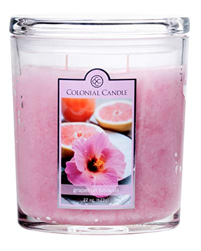 - Colonial Candle Grapefruit Hibiscus, Highly Scented Candle in Classic Oval Glass Jar, Large 22 OZ