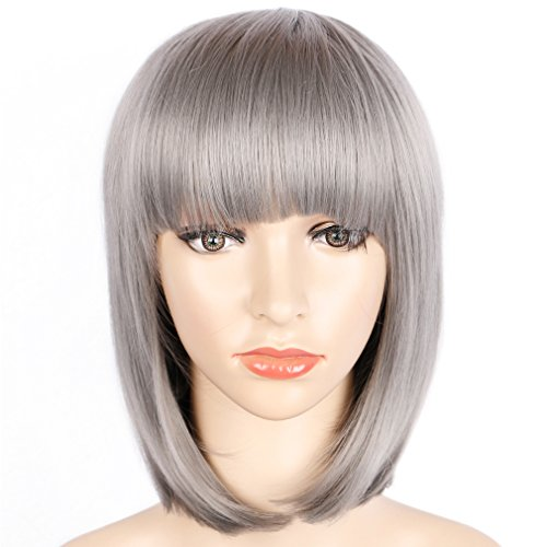 Colorful Bird Straight Bob Hair Wig with Flat Bangs Synthetic Silver Bob Wigs for Women Cosplay Halloween Party Wigs Heat Resistant (Silver Gray,12 inches)]()