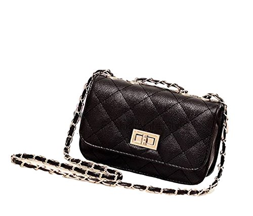 Cross Shoulder Body Leather Chain Bag Vintage Quilted Black Faux New Evening Handbag znZqwICxR