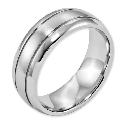8mm High Polish & Satin Finish Cobalt Chromium Double Grooved Wedding Band - Size 13