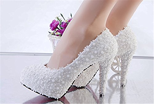 Perle Di Fiori Pizzo Comode Tacchi Donne Togic pizzo Alti Sposa Eleganti Pompe Talloni Da Per Immagine Piattaforma Wedding Come Che Fqx46wA