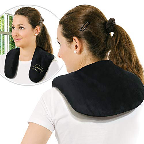 Heating Pad for Neck and Shoulders Microwavable Moist Warming Wrap Hot Compress for Natural Pain Relief Therapy w/Clay Beads by ComfortCloud (Microwavable Heating Pad For Neck And Shoulders)