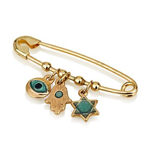 Safety Pin 14k yellow gold, enamel charms, star of david, hamsa, evil eye, safety pin brooch by Baltinester Jewish Jewelry