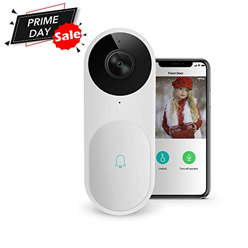 Video Doorbell, A.I. Wifi HD Camera Doorbell with Facial Recognition, Voice Interaction, Night Vision, Motion Detection, Wireless Doorbell, Push Notification, Compatible with Alexa Echo Show (White)