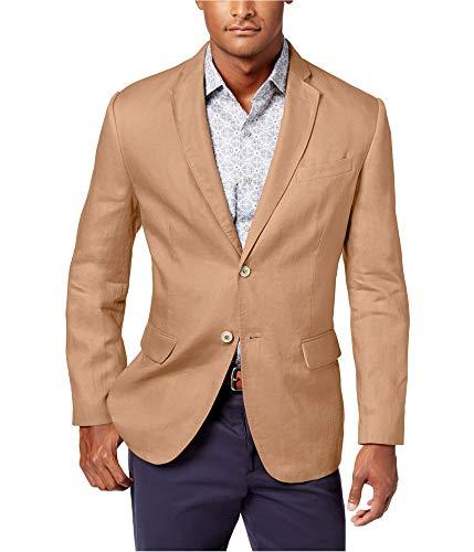 (Tasso Elba Mens Linen Two-Button Sportcoat Tan)