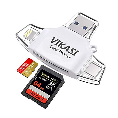 VIKASI SD Card Reader,Memory Micro SD Card Reader USB Type C Adapter Viewer Compatible with iPhone iPad Android Mac - with Lightning Micro USB Type C 4 in 1 (White)