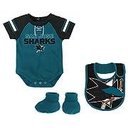Outerstuff NHL San Jose Sharks Children Boys Little D-Man Onesie, Bib & Bootie Set, 12 Months, Shark Teal
