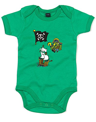 Price comparison product image Pirate Stickers,  Printed Baby Grow - Kelly Green / Transfer 12-18 Months