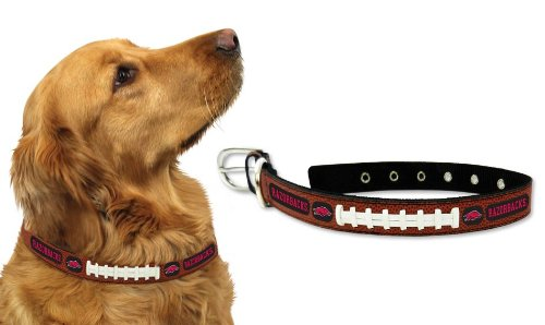 Arkansas Razorbacks Leather Football Lace Dog Collar - Size Large