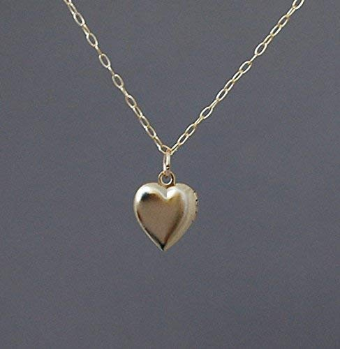 (Tiny Gold Heart Locket Necklace also in Silver)
