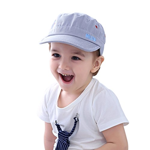 Baby Toddler Kids Boy Flat Top Baseball Hat Embroidery Cotton Stripe Baseball Cap Breathable Flatcap Children ()