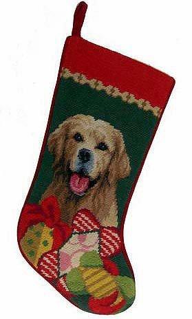 Golden Retriever Gifts Dog Wool Needlepoint Christmas Stocking
