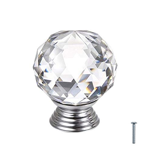 Round Crystal Glass Kitchen Cabinet Hardware Knobs and Pulls for Dresser Drawer Door Cupboard Ball Shape-Transparent 15 Pack
