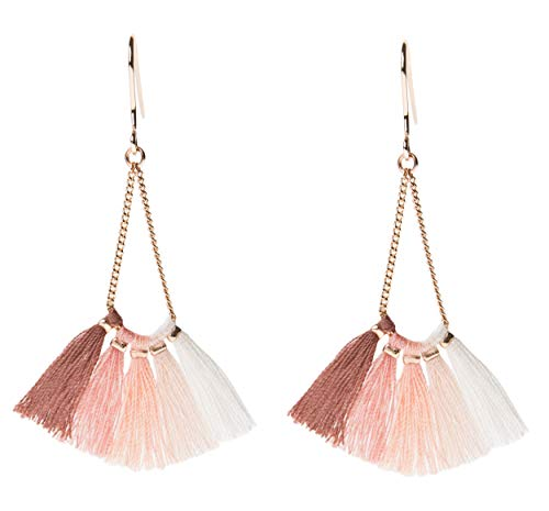 Rose Gold Tassel Earrings: Pink Ombre fringe gifts for women. Fashion drop dangle tassle earing by BLUSH & CO. (Martini) -
