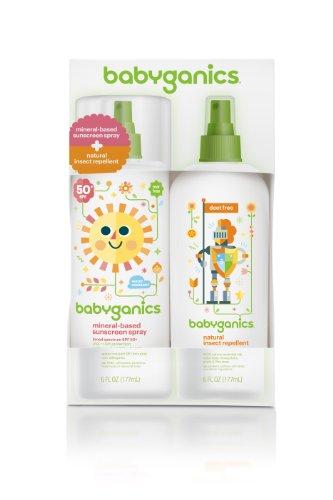 BabyGanics base minérale bébé écran solaire en vaporisateur SPF 50, 6 oz Vaporisateur + naturel insectifuge 6 oz Vaporisateur Combo Pack