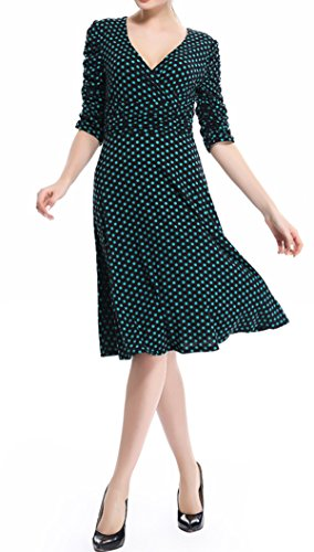 Ruched s Dress Classy 4 Polke Sleeve V Cocktail neck Casual women Green Waist 3 Crazycatz Dress qXRZw