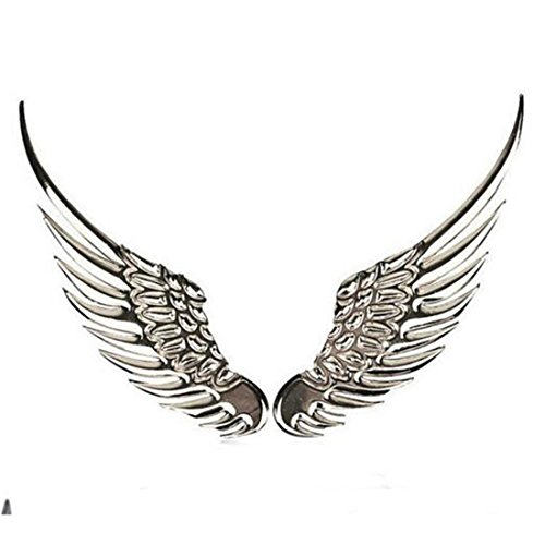Car Styling Fashion 2Pcs Metal Stickers 3D Wings Car Sticker Car Motorcycle Accessoriessilver