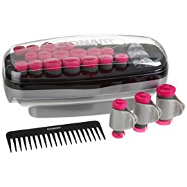 conair xtreme - 41W5F9d7luL - Conair Xtreme Instant Heat Multi-Size Hot Rollers with Heated Clips; Bonus Wide Tooth Comb & 3ml Packet of Argan Oil