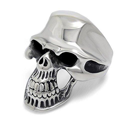 PSRINGS Silver Cool Smooth Alien Skull Ring 316L Stainless Steel Factory Price Skull Cool Finger Rings 7.0