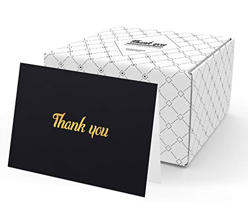 Thank You Cards with Envelopes - 100 Thank You Notes for Business, Weddings, Professional use, Graduation, Birthday, Baby Showers, Engagement, Funeral | Bulk Black Thank You Notes Gold Foil Print