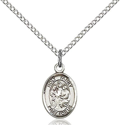 Sterling Silver Holy Family Petite Charm Medal, 1/2 Inch (Pendant Family Holy)