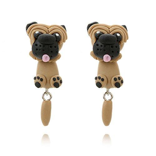 (TIDOO Jewelry Handmade Polymer Clay Cute 3D Animal Stud Earrings Set for Kids Made wih Polymer Clay For Women (Shar)