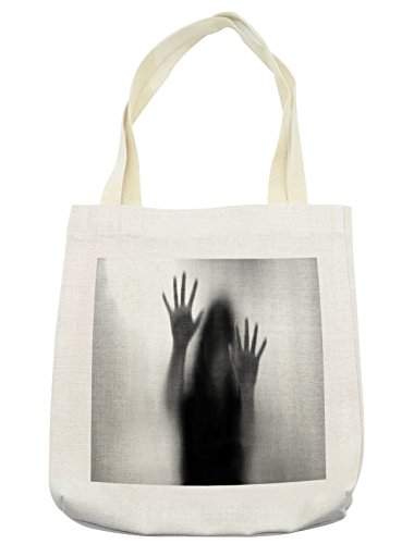Lunarable Horror House Tote Bag, Silhouette of Woman behind the Veil Scared to Death Obscured Paranormal Photo Print, Cloth Linen Reusable Bag for Shopping Groceries Books Beach Travel & More, Cream by Lunarable