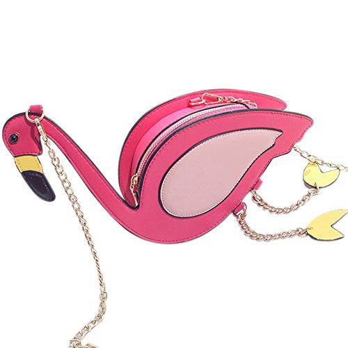 Flamingo Purse (Adealink Fashion Women Flamingo Bird Style Shoulder Bag Chain Cross Body Bag Casual PU Leather Mini Bags Purse)