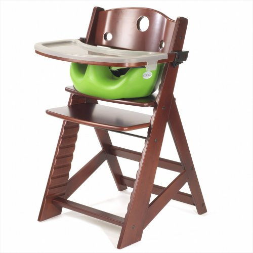 Keekaroo Height Right Highchair with Insert & Tray - Lime - Mahogany Base by Keekaroo