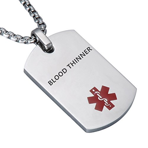 (LiFashion LF Stainless Steel Blood Thinner Medical Alert Dog Tag ID Pendant Caduceus Necklace for Men Women Teens Health Alert Monitoring Systems,Silver)