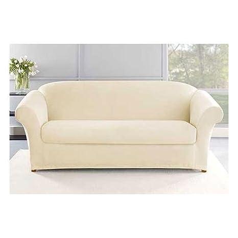 Amazon Com Sure Fit Stretch Plush Knit Sofa Slipcover Cream Home