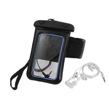 eDealMax Cordón Para el Cuello 4 en 1 Azul Negro caso de la Bolsa de plástico