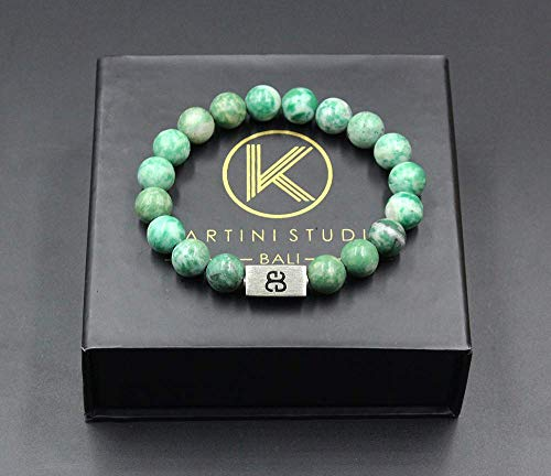 (Qinghai Jade Bracelet, Men's Jade Bracelet, Natural Green Jade and Sterling Silver Bracelet)