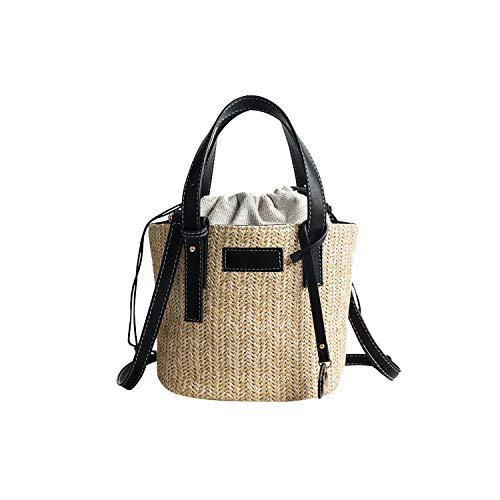 - Round Straw Beach Bag Vintage Handmade Woven Shoulder Bag Raffia circle Rattan bags Bohemian Vacation,Black
