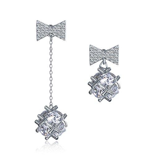 (Flower Ball Clear CZ Zircon Asymmetric Earrings 925 Sterling Silver Bowknot Platinum Plated)