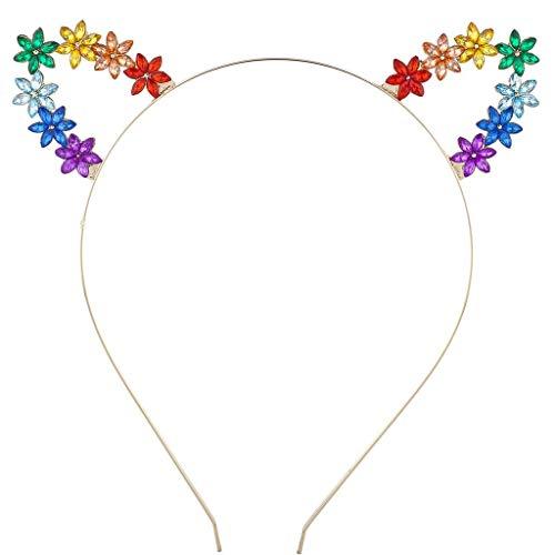 Lux Accessories GoldTone Rainbow Gemstone Flower Floral Costume Cat Ear ()