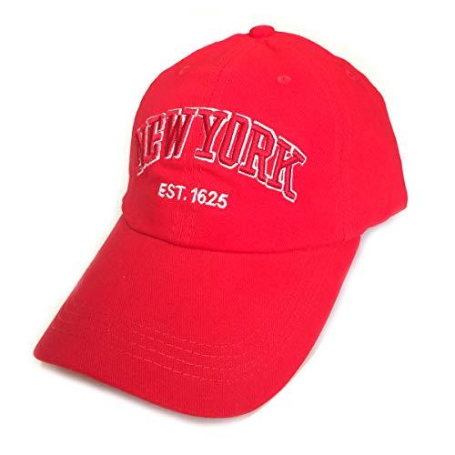 Baseball Hats, Adjustable Washed Twill Cotton Denim NY New York Brooklyn Caps Vintage Dad Hat Unisex (New York Cap/Red)