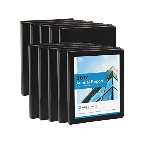 Blue Summit Supplies 10 Pack of 1/2 inch 3-Ring Economy Binders, Black, Bulk Clear Cover Binders for Home, Office, and School, 8 1/2 inch x 11 inch Paper, Value - Binder Black Presentation