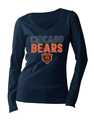 NFL Chicago Bears Women's Long Sleeve V Neck Jersey, X-Large, Navy