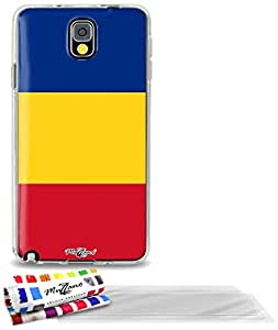 """Carcasa Flexible Ultra-Slim SAMSUNG GALAXY NOTE 3 de exclusivo motivo [Bandera Rumania] [Transparente] de MUZZANO  + 3 Pelliculas de Pantalla """"UltraClear"""" + ESTILETE y PAÑO MUZZANO REGALADOS - La Protección Antigolpes ULTIMA, ELEGANTE Y DURADERA para su SAMSUNG GALAXY NOTE 3"""