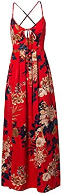 c78caacd4a05 Lily Rosie Girl Red Floral Print Sexy Lace Up V Neck Women Maxi Dresses  Summer Split Backless Beach Long Vestidos Boho Dress Red M