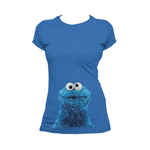 Sesame Street Women's Cookie Monster Photo Head T-Shirt Large Royal Blue