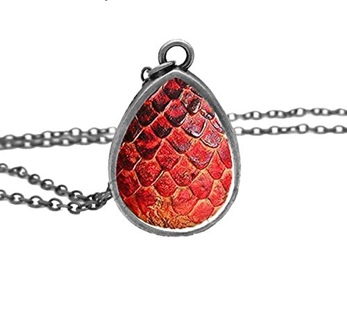 Adorability Dragon Egg Scale Necklace for Women Girls Mens Colorful 3D Eggs Shape Unisex Pendant Hypoallergenic Black Red