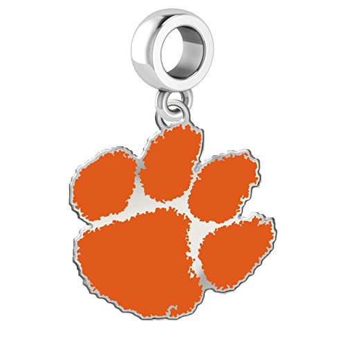 Clemson University Tigers Sterling Silver Logo School Color Bead Dangle Charm Fits All European Style Charm Bracelets