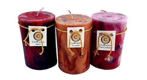 (Valentine's Day Romantic Gift - Handmade, Long Burning Pillar Candles - Chocolate, Merlot & Rose Scent (3)