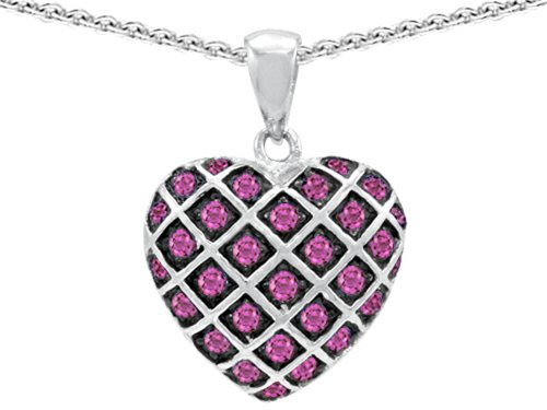 Star K Sterling Silver Puffed Heart Pendant Necklace