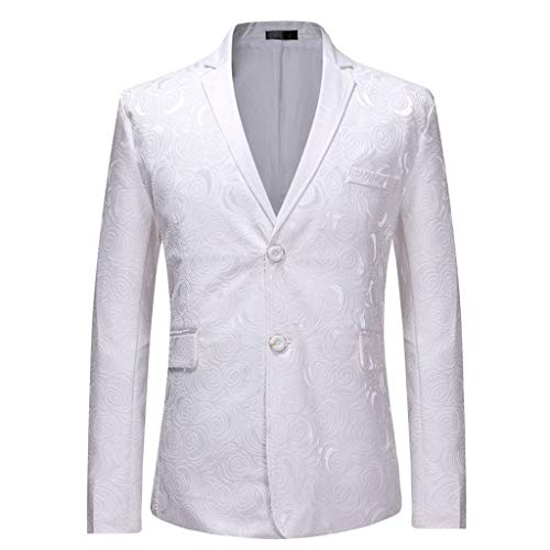 Blazer Jacket Slim Fit Two Button Casual/Party Sport Coat Slim Fit Suits Casual Solid Lightweight Blazer Jackets Flap Pockets Mens (M,10#White) -