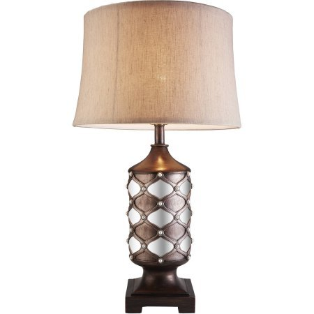 Arabesque Mirror Table Lamp, Dark Espresso, Made of polyresin and can be easily clean with a cloth by lude
